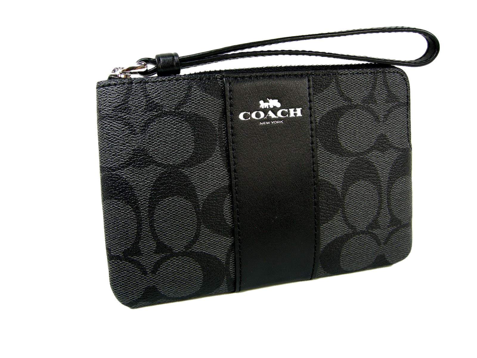 Coach F58035 Corner Zip Wristlet in Signature Coated Canvas with Leather Stripe Black Smoke - Black by Coach