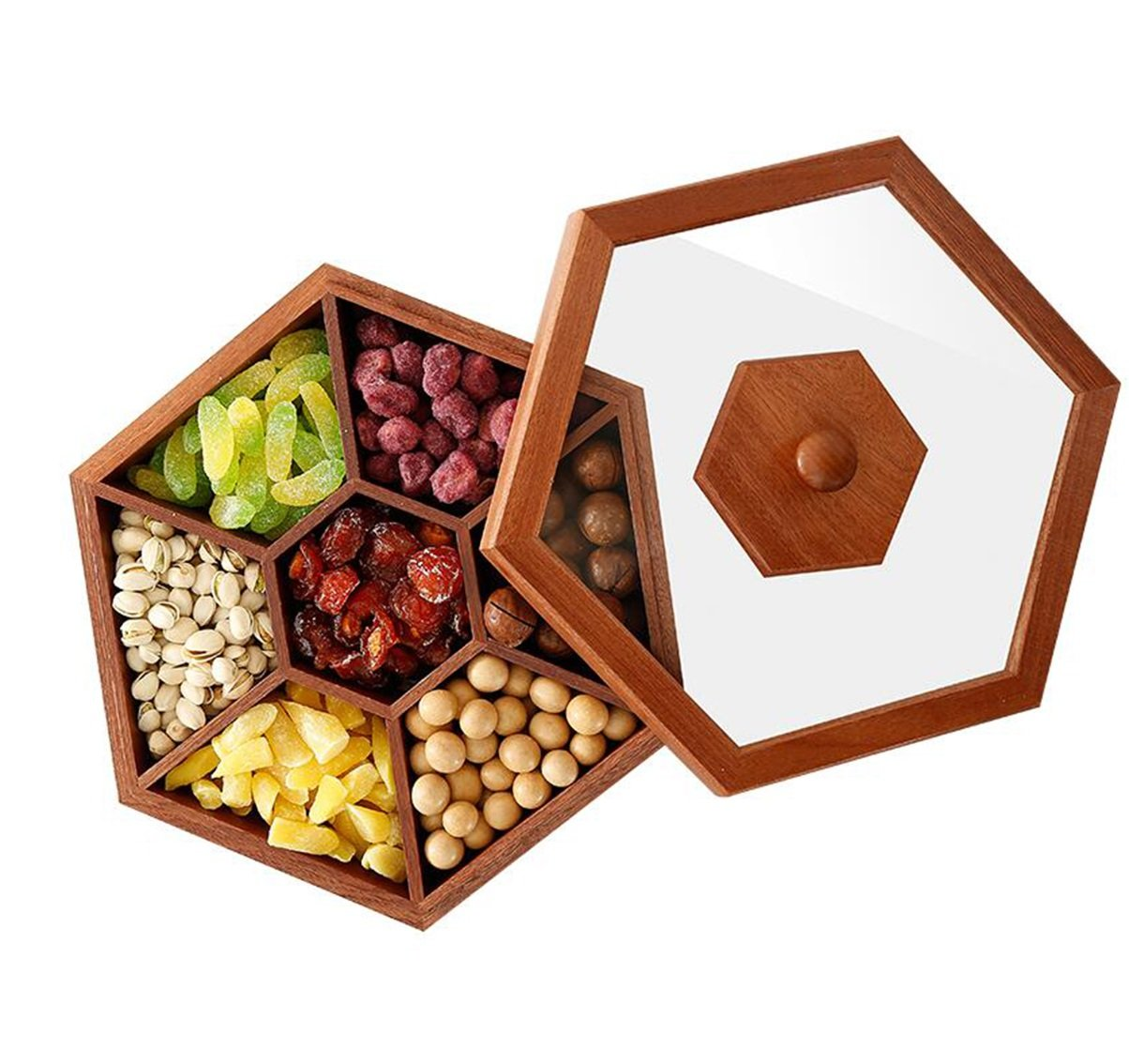 Wooden Fruit Plate Chinese Retro Home Living Room Snack Plate Dried Fruit Plate Candy Snack Plate Fruit Tray Storage Box 30269cm