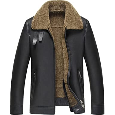 dab67df045 Denny Dora Mens Shearling Coat Black Color Flight Jacket B3 B2 Sheepskin  Coat Leather Jacket for Men
