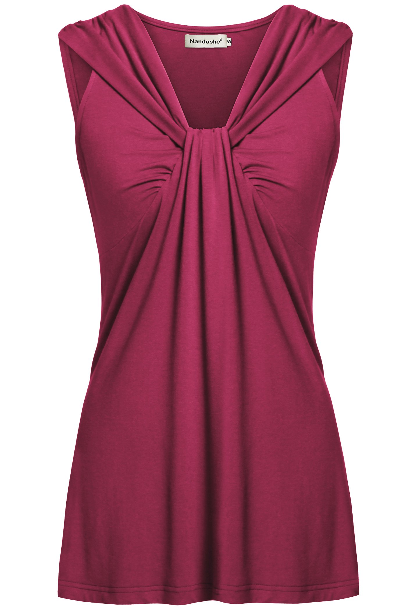 Nandashe Womans Tops Summer, Nice Knot Loose Knitted Stylish Trapeze Flowing Sparkly Pullover Tops Rosered Extra Large