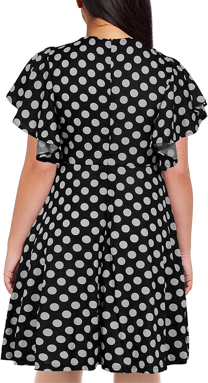 Nemidor Womens Vintage Ruffle Sleeve Party Midi Dress Plus Size Casual Summer Fit and Flare Dress NEM212