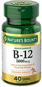 Vitamin B12 by Nature's Bounty, Quick Dissolve Vitamin Supplement, Supports Energy Metabolism and Nervous System Health, 5000mcg, 40 Tablets