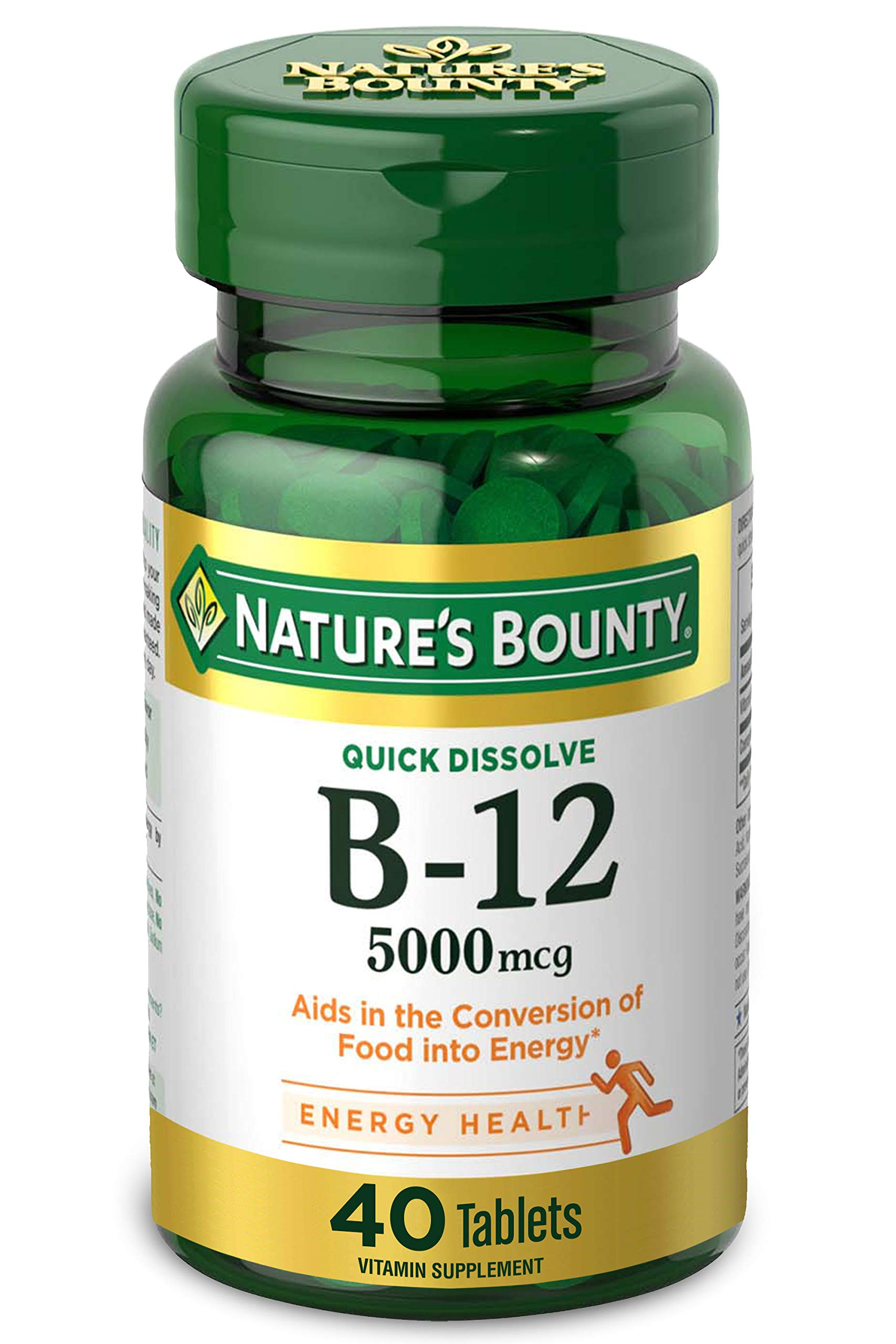 Nature's Bounty Vitamin B-12 Supplement, Supports Metabolism and Nervous System Health, 5000mcg, 40 Tablets