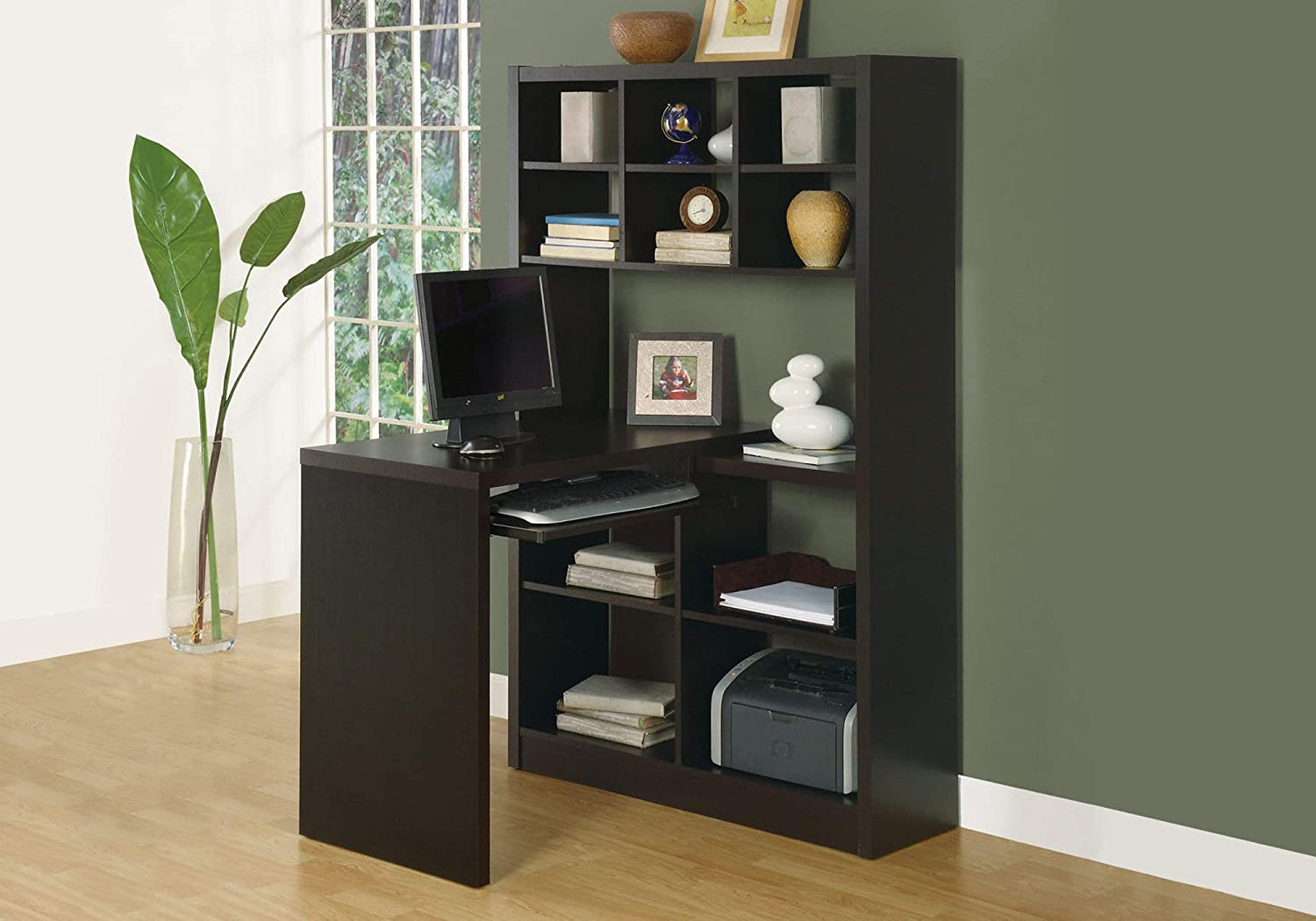 Monarch Specialties I Storage-Bookcase Left Or Right Set Up-Corner Desk with Multiple Adjustable Shelves, 60 L, Cappuccino