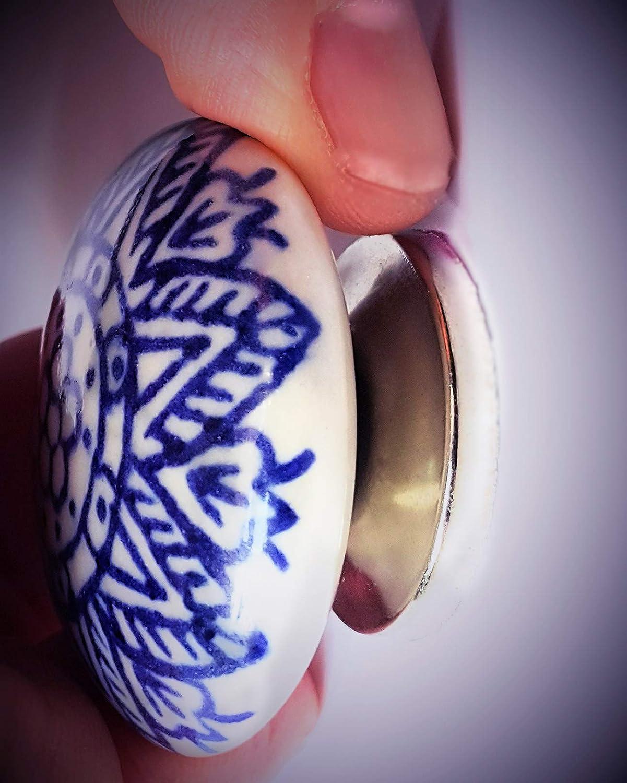 Armadietto cucina pomelli per porta cassetti maniglie pomelli in porcellana grande fiore blu vintage shabby chic mobili petto armadio Set di 6 pomelli in ceramica di fff