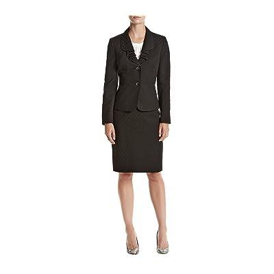 Le Suit Women's Jacquard Two Button Jacket Skirt Suit, Black, 4: Clothing