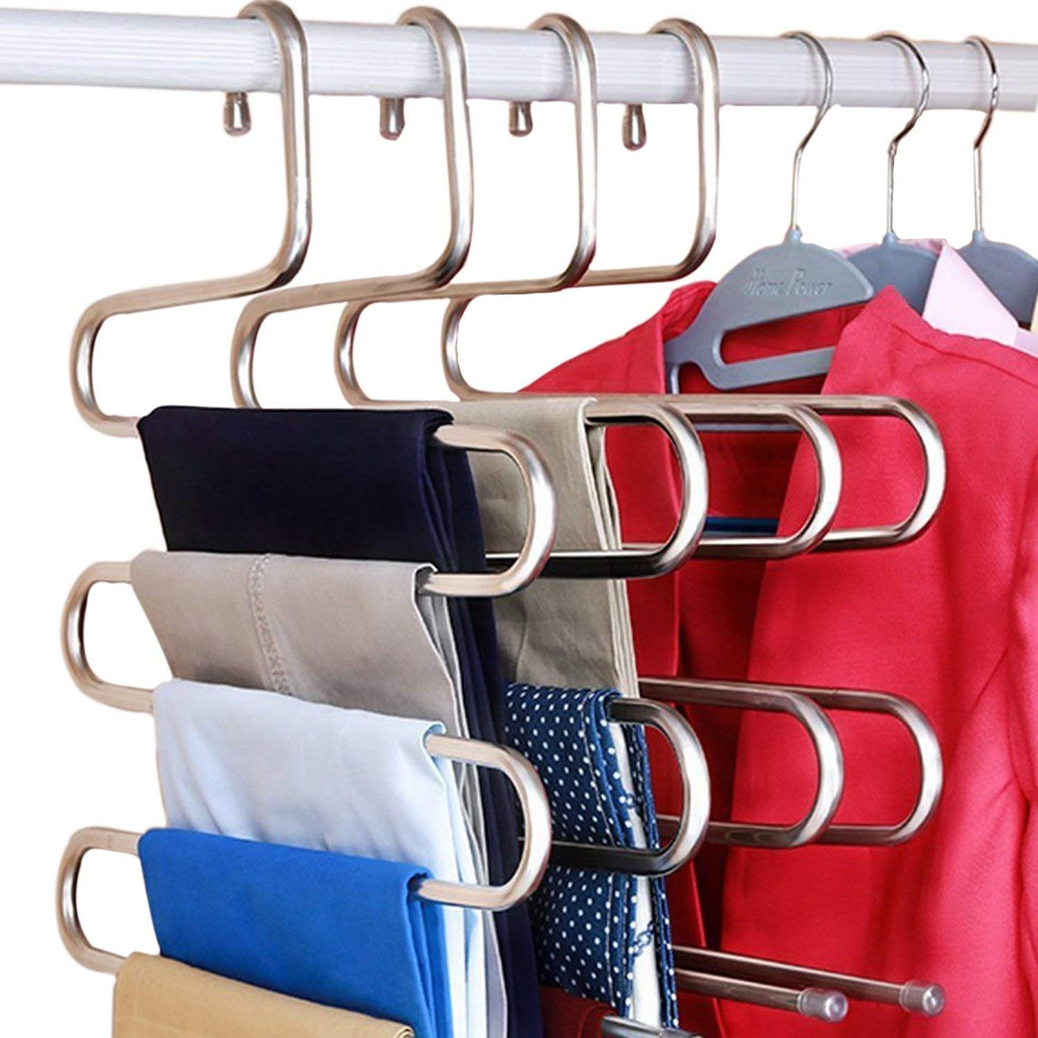 hiixhc S-Type Stainless Steel Clothes Pants Hangers Closet Storage Organizer Multi-Purpose Closet Storage Pants Jeans Tie Scarf Towel Clothes, Space Saving Storage Rack (1-Piece)