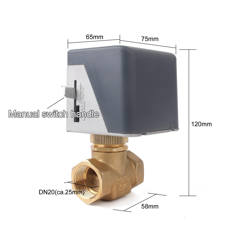 Motor de Hist/éresis V/álvula de dos v/ías Clase de Eficiencia Energ/ética A Retorno por Muelle V/álvula de Conmutaci/ón Solar de 2 v/ías G3//4 DN20 V/álvula Cerrada NC sin Energ/ía