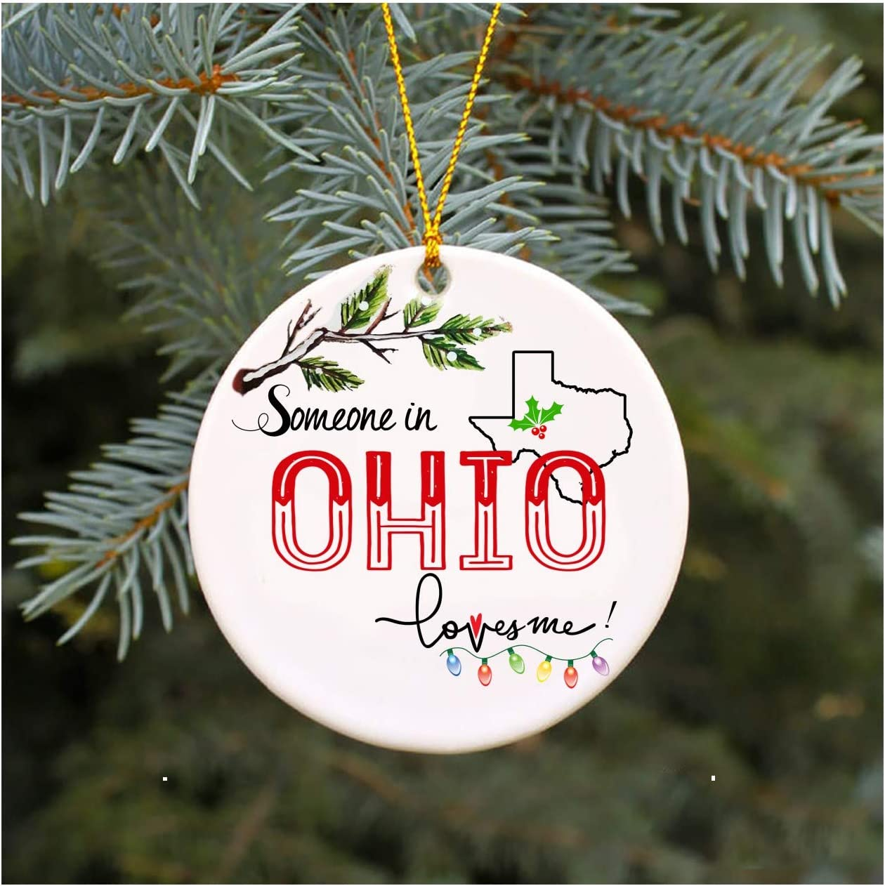 Amazon Com Christmas Ornaments 2020 Gift For Family Someone In Ohio Texas Loves Me Tx State Gifts Xmas Present Mom Dad Wife Husband Best Friend Mdf Plastic 3 Flat Circle Kitchen Dining