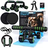 Ab Roller Wheel, 10-in-1 Ab Wheel Roller Kit with Resistance Bands, Knee Mat, Jump Rope, Push-Up Bar - Home Gym…