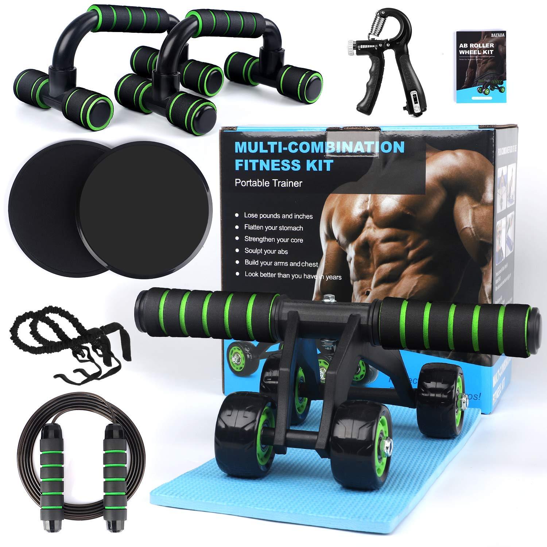 Home Gym Fitness Set Abdominal Roller AB Wheel Wheel Knee Pad Disc Core Slider Resistance Loop Band Jump Rope Pack Kit,SET 1