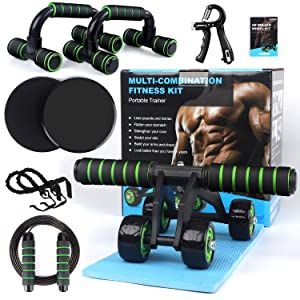 Ab Roller Wheel, 10-in-1 Ab Wheel Roller Kit with Resistance Bands, Knee Mat, Jump Rope, Push-Up Bar - Home Gym Equipment for Men Women Core Strength & Abdominal Exercise Workout
