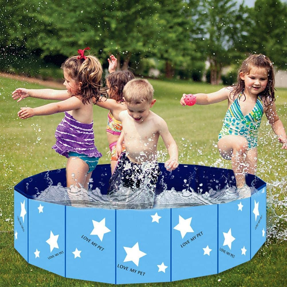 Portable Kiddie Pool For Kids Wood.L Foldable Dog Pool PVC Bathing Tub Dog Paddling Pool Outdoor Swimming Pool For Large Small Dogs