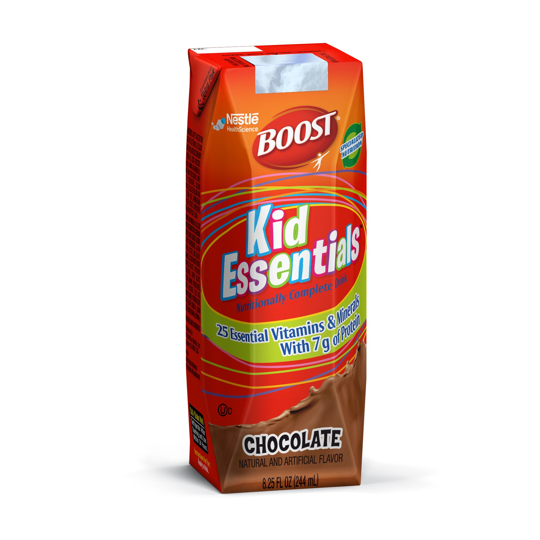Boost Kid Essentials Nutritionally Complete Drink, Chocolate, 8.25 Fl. Oz box, 16 Pack (Packaging May Vary)