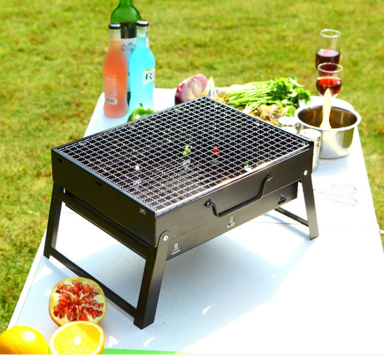 ZXMXY Grill Grill Tragbare Kohle Grill Tisch Camping Outdoor Garten Grill BBQ Utensil Für 3-6 Personen Familie Tragbare Mit Tragegriff (35  27 cm)