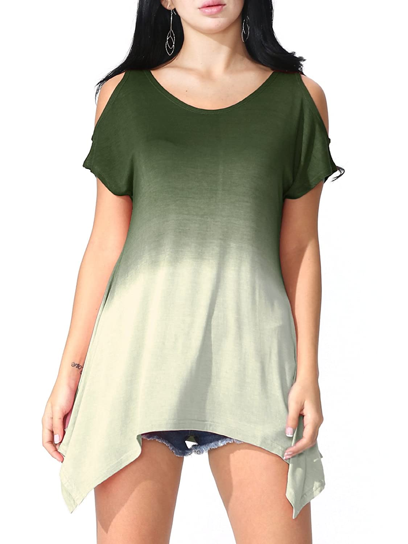 JayJay Women Plus Size V Criss Cross Neck Summer Tunic Tops