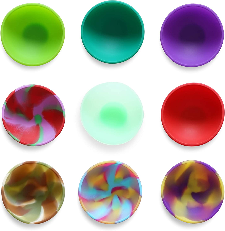 Kingrol 9-Pack Mini Silicone Pinch Bowls, 1.75 Ounce Prep & Serve Bowls, Multi-color