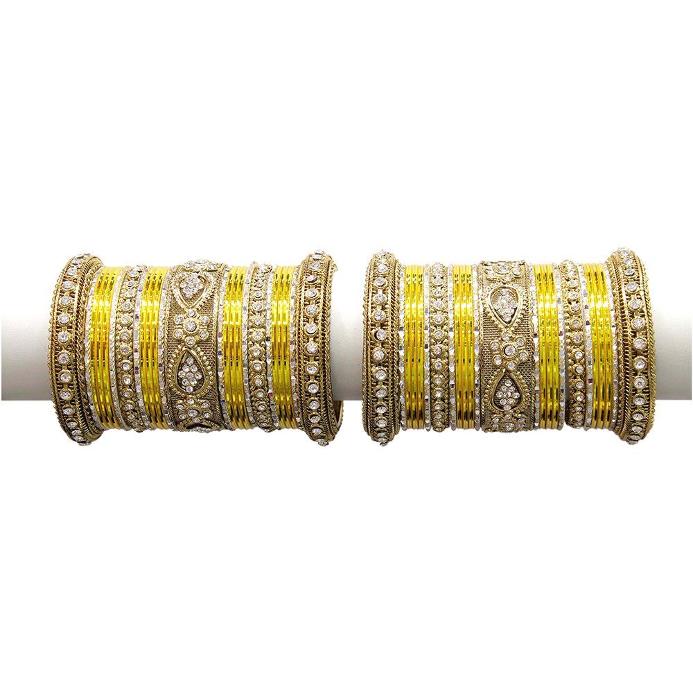 MUCH-MORE Beautiful Multi Color Bangles For Women & Girls Wedding Jewelry (Yellow, 2.8)