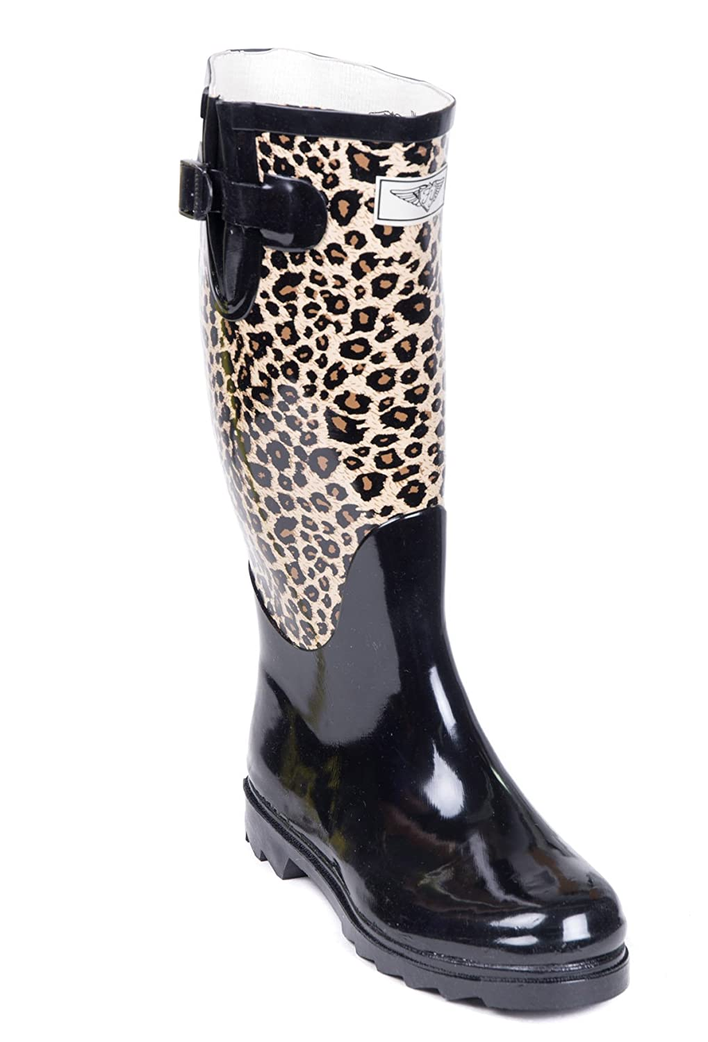 Forever Young Women Full Rubber Rain Boots, Animal/Black, 10 US