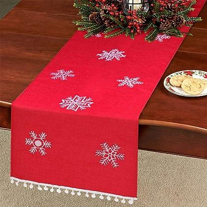 Amazon Com Aytai Snowflake Table Runner Embroidered Christmas Table