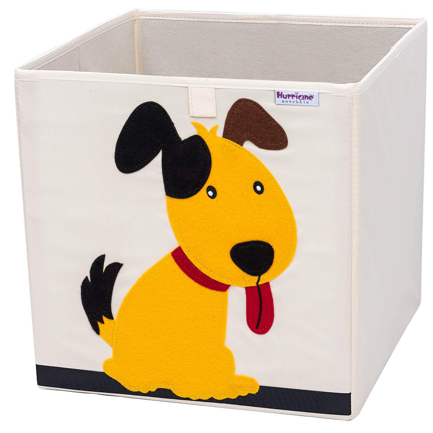 Hurricane Munchkin Collapsible Toy Storage Box   Cube Bin Organizer for Children Toys, Stuffed Animals, Books & Clothes (13'' x 13'' x 13'')   Great for Nursery, Kids Bedroom & Playroom - Dog