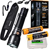 Fenix TK26R 1500 Lumen USB rechargeable white/red/green LED flashlight, 2 X rechargeable batteries with EdisonBright brand ba