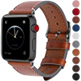 Fullmosa Compatible Apple Watch Band 42mm 44mm 38mm 40mm Genuine Leather iWatch Bands, 42mm 44mm Dark Brown + Smoky Grey Buckle