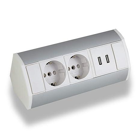 Praktische Eck-Steckdose 2x Schuko + 2x USB, weiß, silber ...