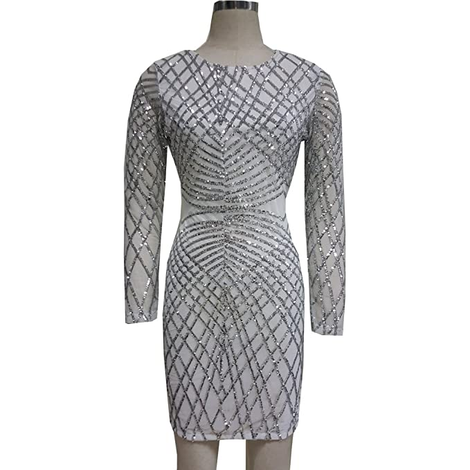 08378b289552 pinda Sexy White Silver Sequin Geommetric Mesh Bodycon Dress Club ...