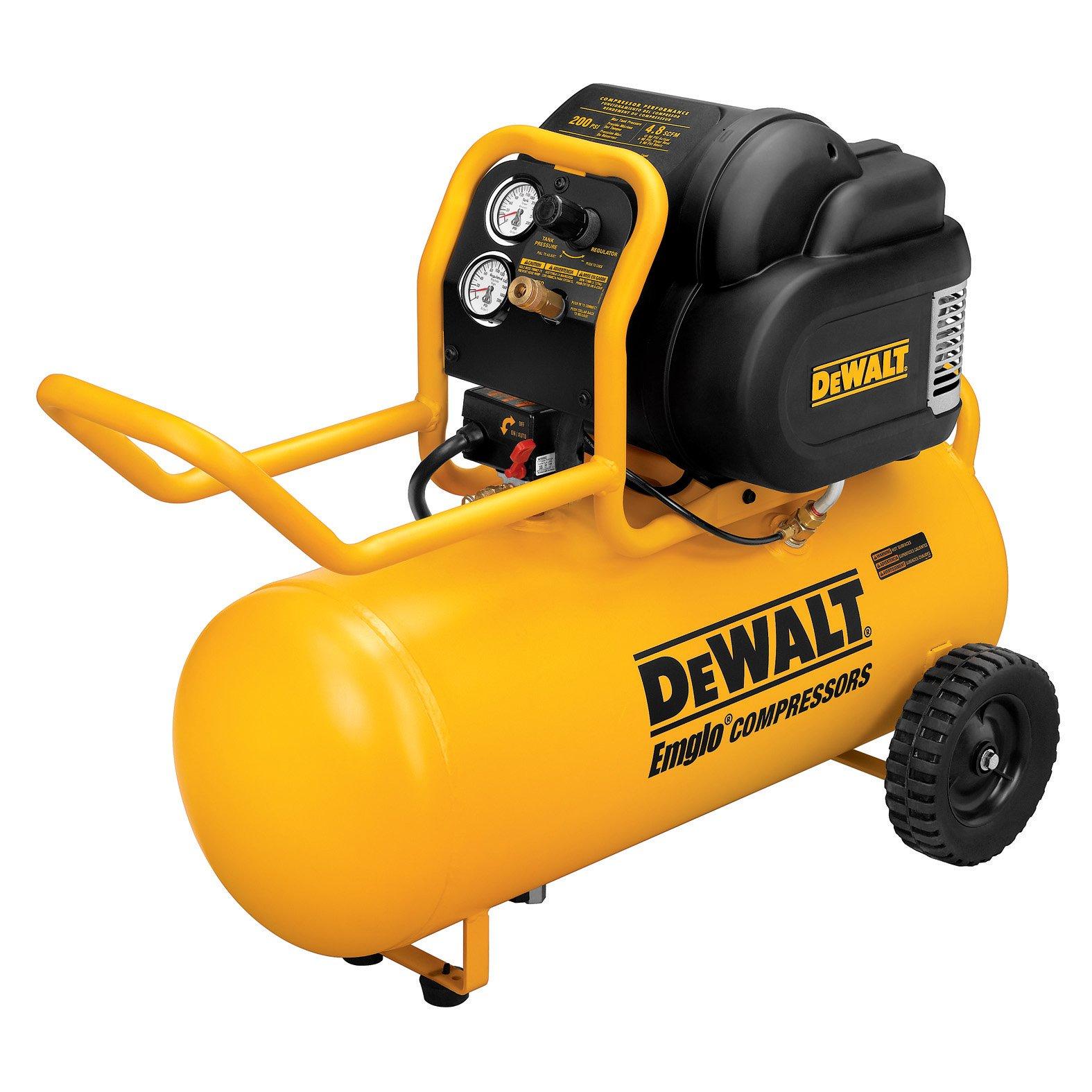 DEWALT D55167 1.6 HP 200 PSI Oil Free High Pressure Low Noise Horizontal Portable Compressor