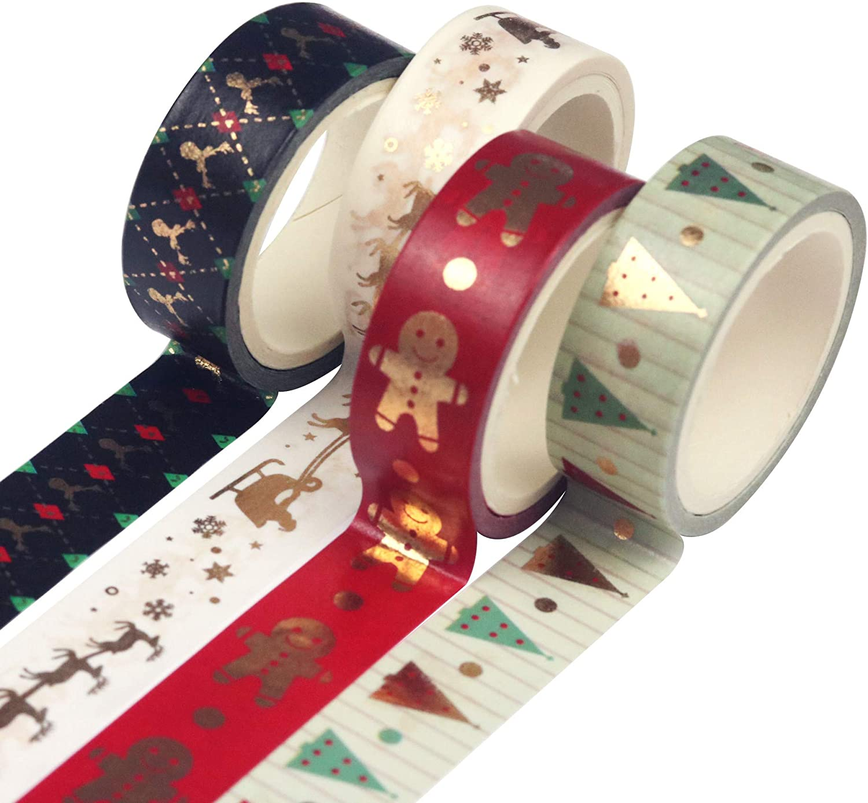 Planner Tape Masking Tape Washi Tape Set 4 Rolls Foil Black Gold DIY Scrapbooking Decorative Tape Craft Gift Decoration Tape Stickers