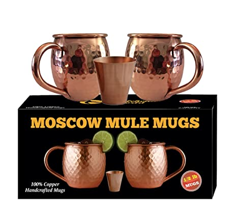 Whalehead Moscow Mule Copper Mugs - 100% Pure, Heavy Gauge, Solid Copper  Mugs