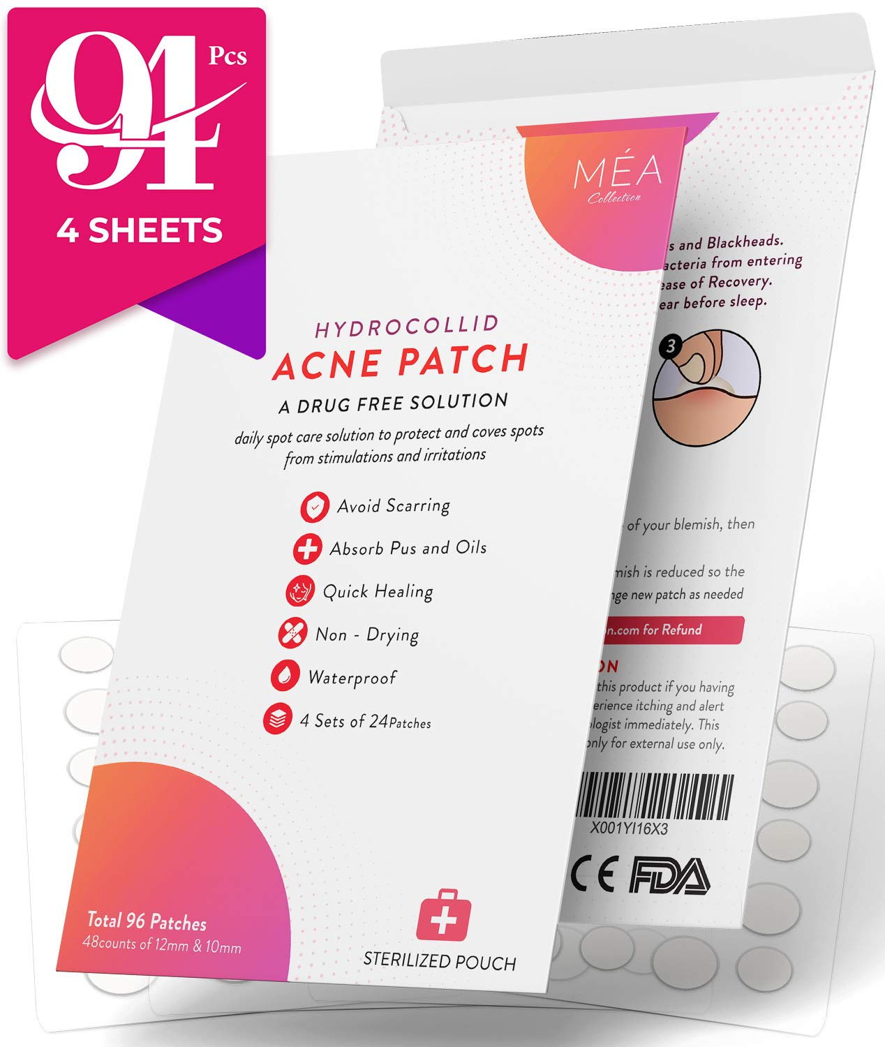 Acne Pimple Master Hydrocolloid Patch 96 Count - 4 Sets of 24 Patches for  Zits, Whitehead Pores, Adult