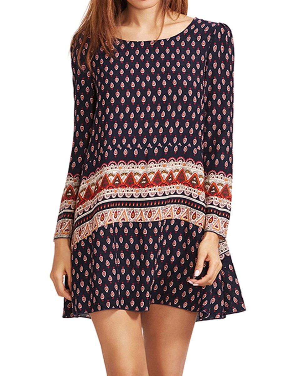 ROMWE Women's Bohemian Vintage Printed Ethnic Style Summer Shift Dress Multicolor M