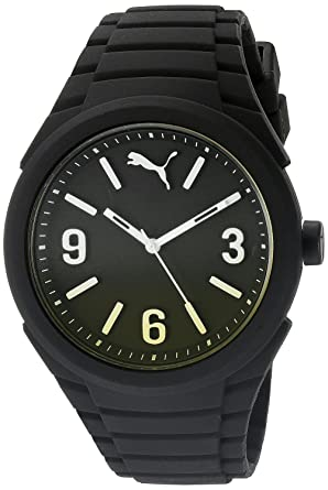 PUMA Gummy Mens Quartz Watch with Black Dial Analogue Display and Black Silicone Strap PU103592010