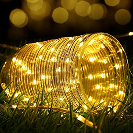 Amazon.com: 100 LEDs Solar Rope String Lights,WONFAST Waterproof ...