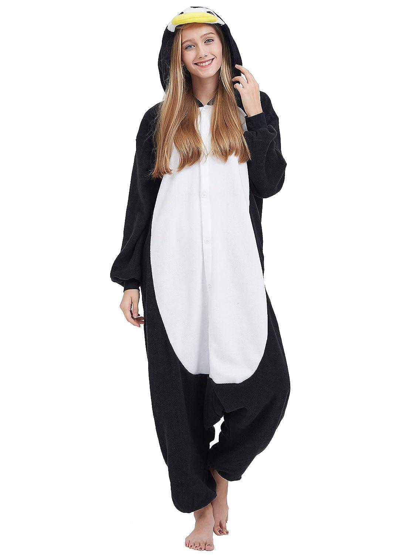 Kigurumi Pijama Animal Entero Unisex para Adultos con Capucha Cosplay Pyjamas Pingüino Negro Ropa de Dormir Traje de Disfraz para Festival de Carnaval ...
