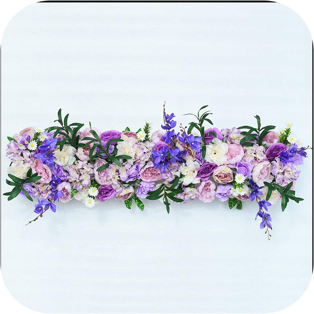 Amazon Com Dreamture 1m Backdrop Wedding Decor Artificial Flower Arrangement Supplies Decor For Wedding Iron Arch Hotel Party Road Lead Flowers Wall 12 Kitchen Dining