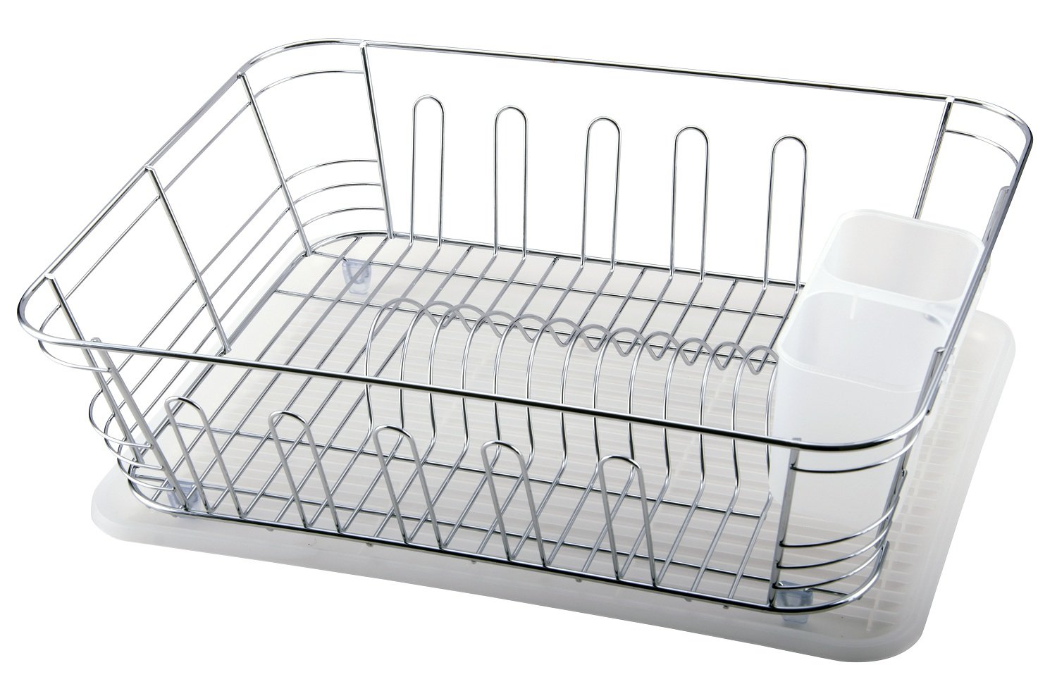Superior Quality Chrome Plated Steel Kitchen Dish Rack with Utensil Holder