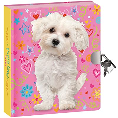 "Peaceable Kingdom Puppy Love 6.25"" Lock and Key, Lined Page Diary for Kids: Toys & Games"