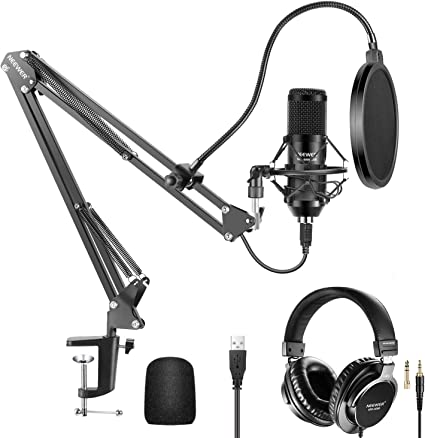 Amazon Com Neewer Usb Microphone Kit 192khz 24bit Plug Play Cardioid Condenser Mic With Monitor Headphones Foam Cap Arm Stand And Shock Mount For Karaoke Youtube Gaming Record Podcasts Singing Etc Musical Instruments