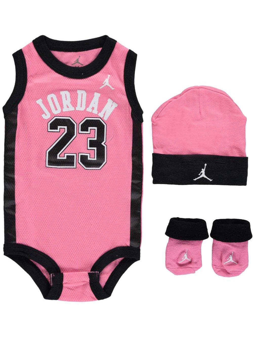 f1db60b22fc54 Jordan Baby Clothes 3 Piece Basketball Jersey Set (0-6 months) Pink, 0-6  Months