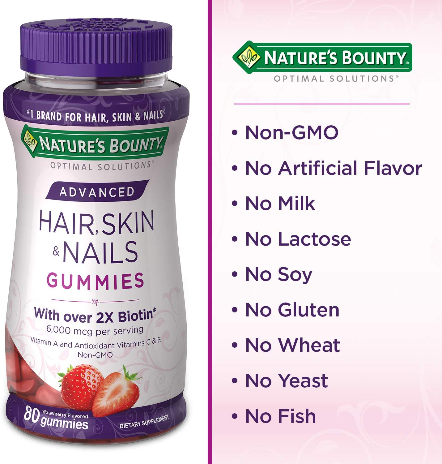 Nature's Bounty Optimal Solutions Advanced Hair, Skin & Nails Gummies,  Strawberry, Pack of 9 9 Count