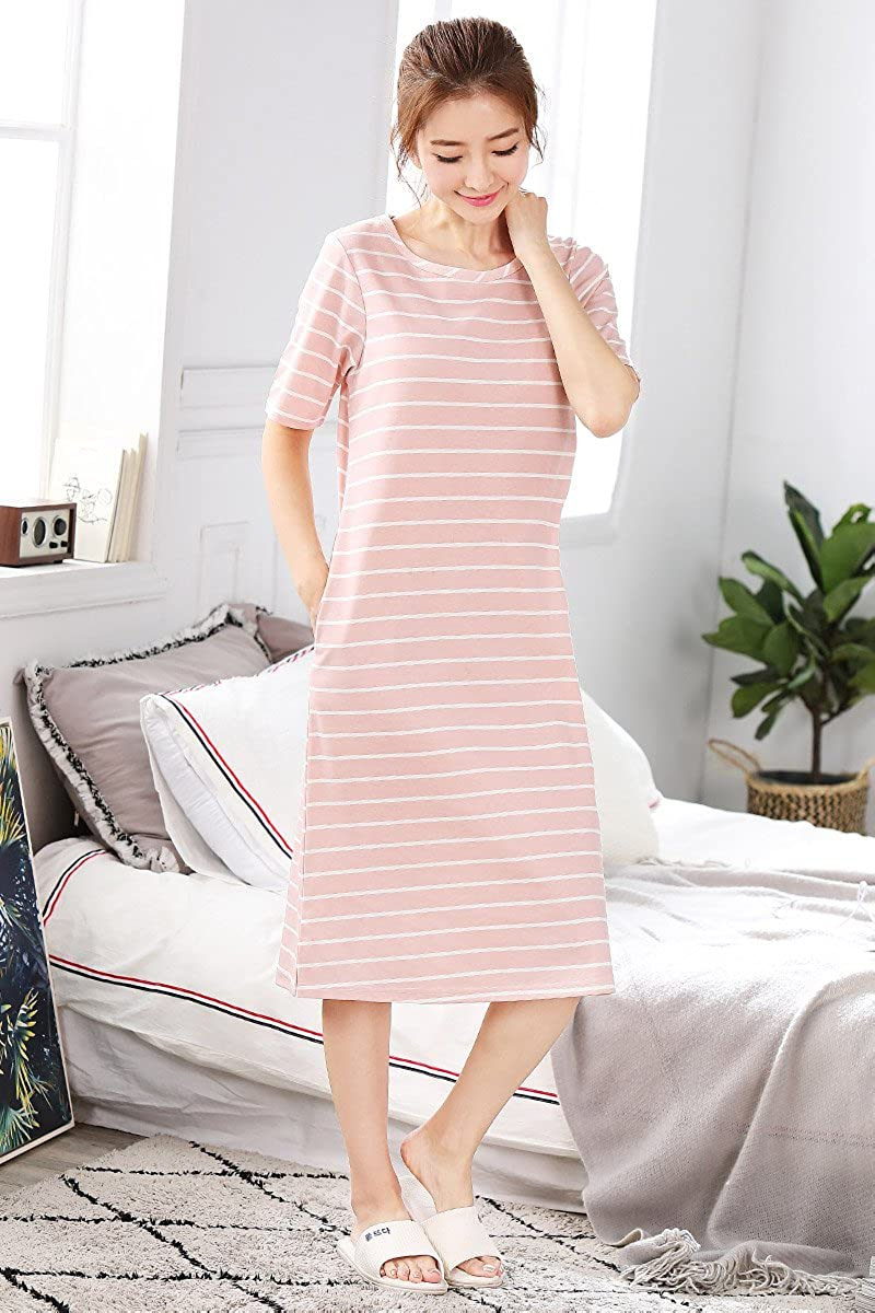Ladies Short Sleeved 100% Cotton Summer Women's Pajamas Simple Casual Sleeper Skirt Dress Home Service XXL,54