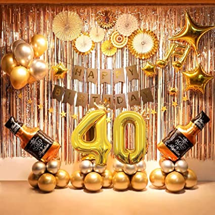 Amazon Com 40th Birthday Party Supplies 40th Party Decorations Balloons Set With Birthday Banner 60 Pcs Included Toys Games