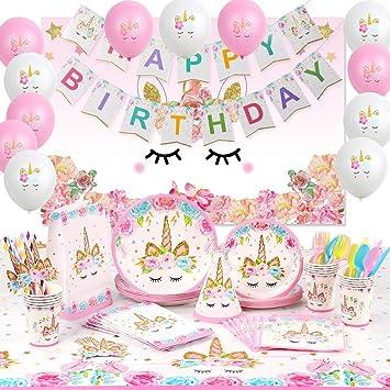 8 X Pretty Licorne Fête Assiettes en Papier Filles Fête D/'Anniversaireunicorn baby shower