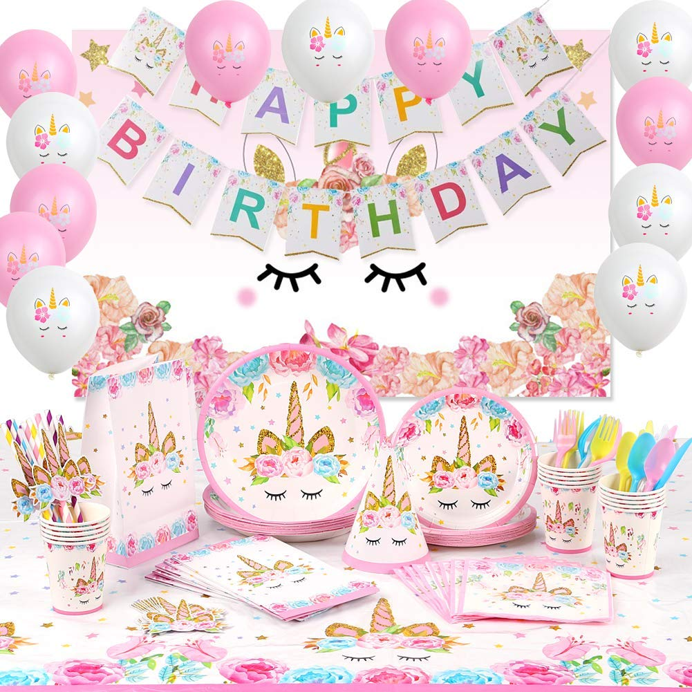 Unicorn Party Supplies Serve 16 Happy Birthday Banner/Backdrop/Balloons/Hats/Plates/Table Cloth 176 PCs Unicorn Birthday Party Supplies