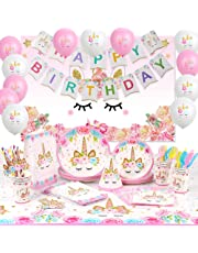 Unicorn Party Supplies Decoration Happy Birthday Banner Backdrop Plates Bags Hats Tablecloth Girls Unicorn Birthday Party 176 PCs Serve 16