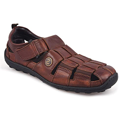 335d8aeecfb3 DOC   MARK Brown Leather Velcro Sandals for Men  Buy Online at Low ...