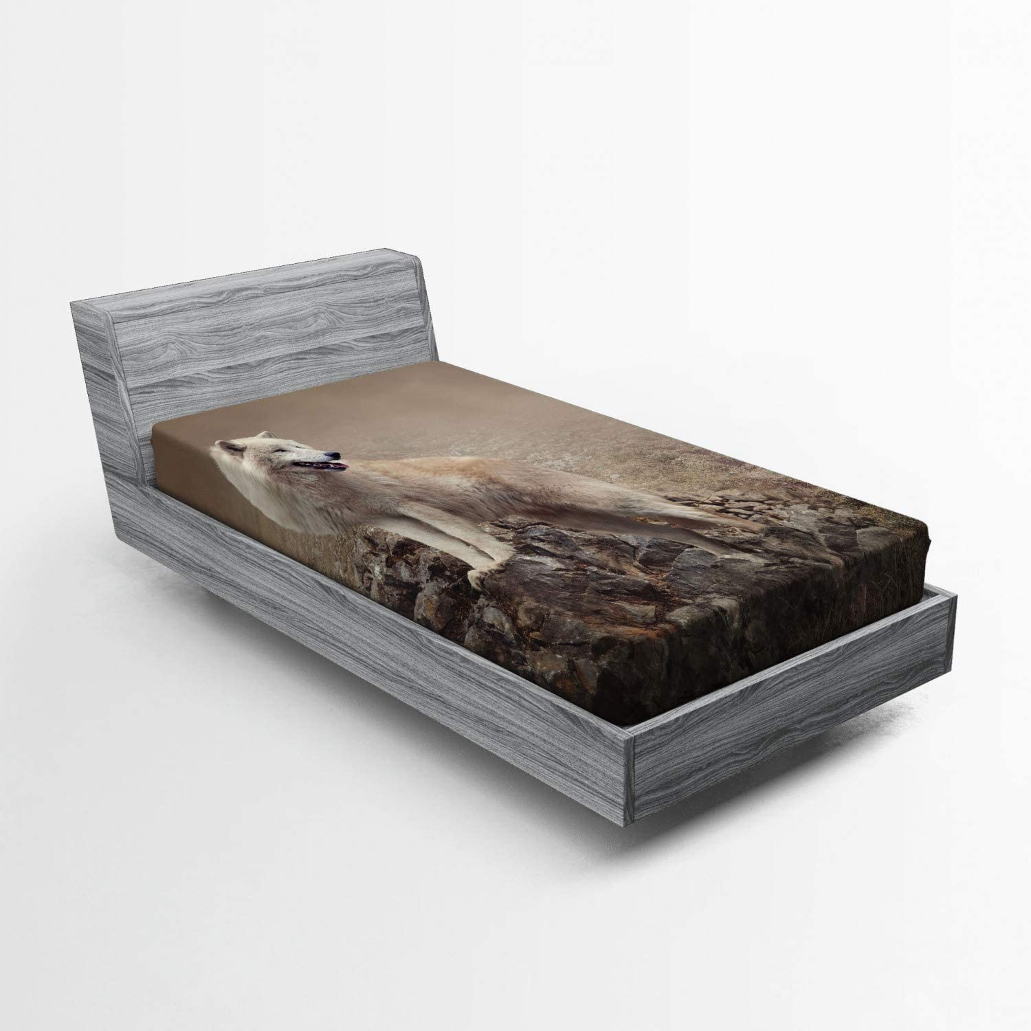 Ambesonne Animal Fitted Sheet, White Wolf on Rocks at The Night Hazy Misty Weather Wildlife Nature Scenery Print, Soft Decorative Fabric Bedding All-Round Elastic Pocket, Twin Size, Brown Beige